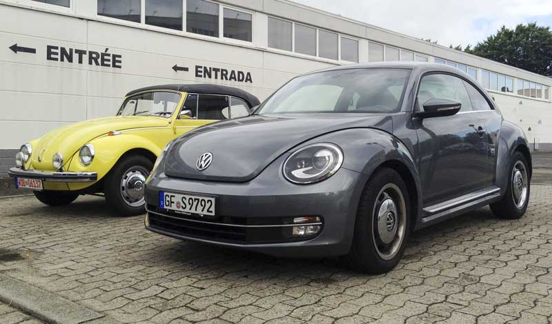 VW Beetles past and present side by side