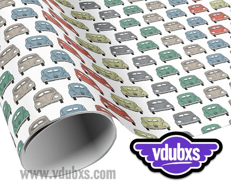 "cool colourful classic car wrapping paper - 30"" width x length with multiple choices from 6 feet - 60 feet"
