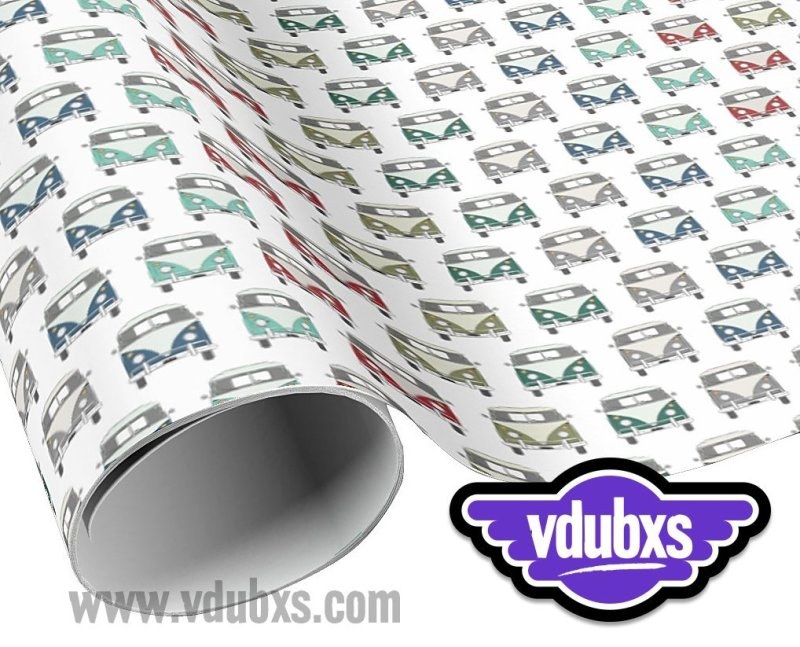 "funky, multi coloured vintage bus wrapping paper - 30"" width x length with multiple choices from 6 feet - 60 feet"