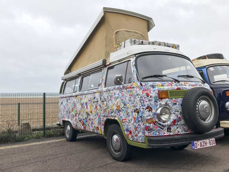 funky sticker bomb finish on this late bay Westy from Belgium
