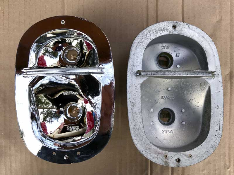 the new cast metal rear light units with chrome finish should great increase the brake and indicator visibility