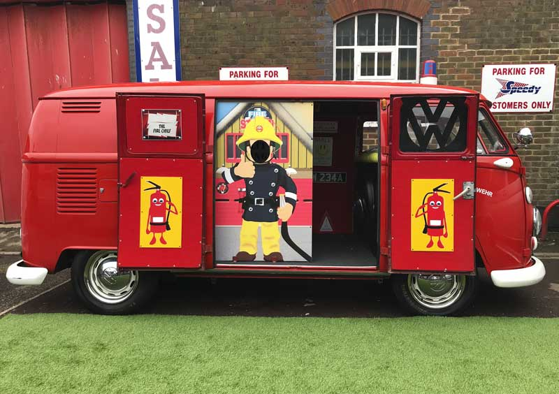the special fire bus was a hit with the kids and was busy raising money for charity