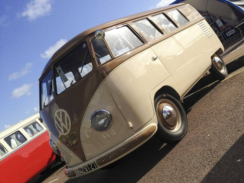 super cool barndoor bus with its distinctive flush front peak above the front windows