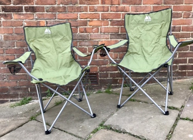 2x fold up camping chairs for sale