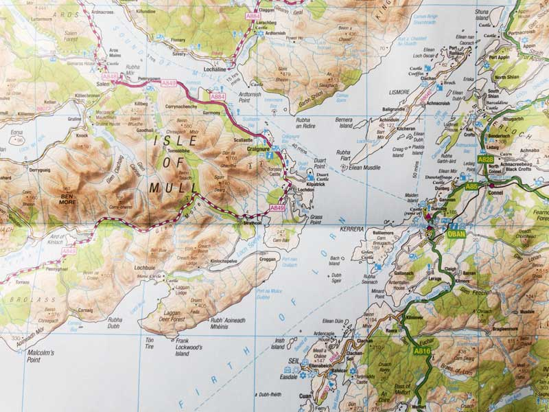 map detail of the Isle of Mull in the Highlands of Scotland