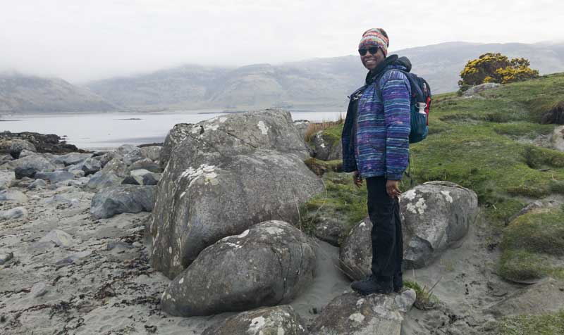 Lorna exploring the small islands of Lochbuie