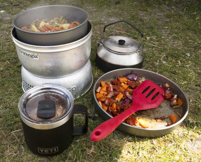 lunch on the go cooked on our Trangia stove