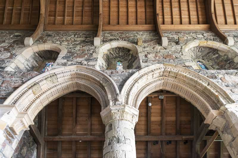 architectural detail of the Iona Abbey interior