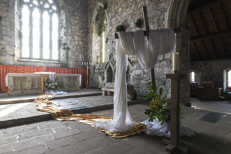 Easter inspired interior of Iona Abbey