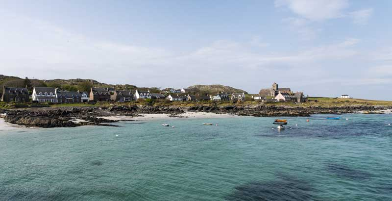 arriving by ferry in Iona with its crystal clear turquoise coloured water