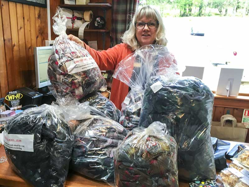 Lorna stocks up with more materials from Lochcarron Weavers