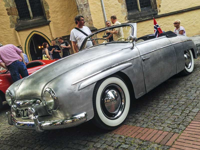 amazing bare metal Rometsch Karosserie coach built summer cruiser