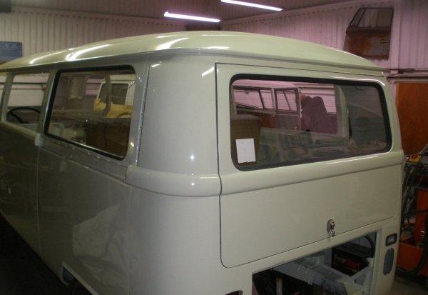 then the rear drivers side window goes in