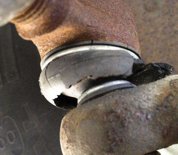 The outer track rod end ball joint dust cover boot not looking so good