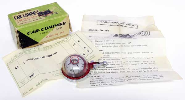 The vintage Polco car compass, complete with its original packaging, instructions and bill of sale!