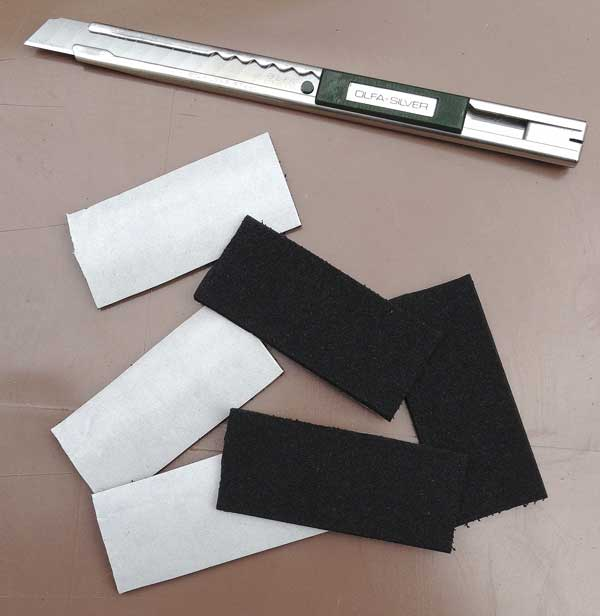 a sharp knife soon saw some double sided adhesive foam strips cut to size