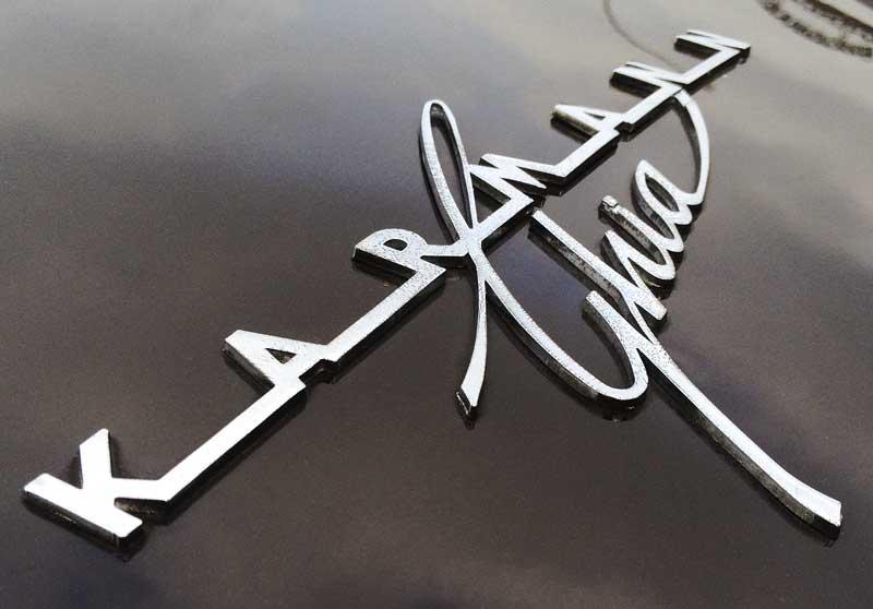 beautiful typography of the classic distressed Karmann Ghia script