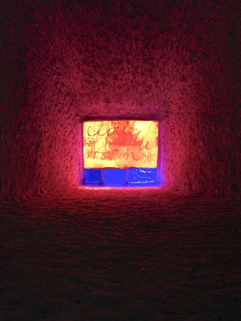 etoile du matin (morning star) stained glass window detail