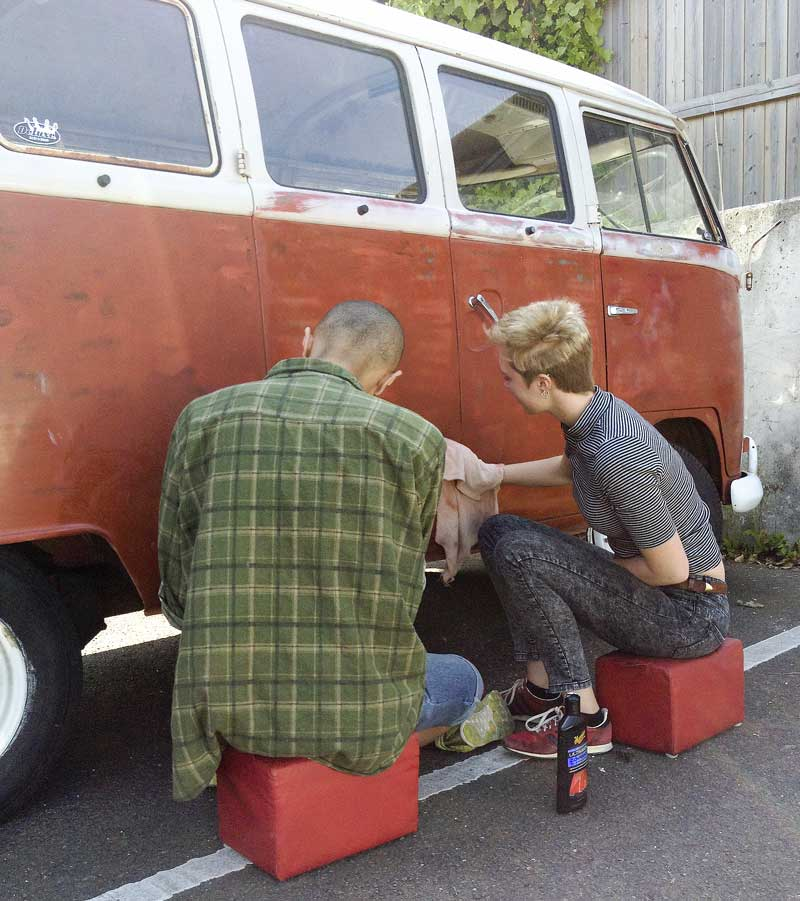 enlisted some family help to work on the bus