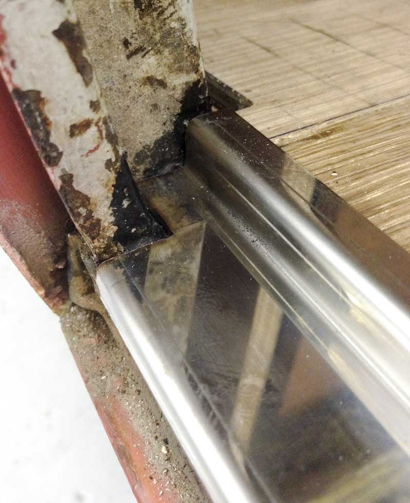 notched ends to make the stainless steel cargo floor edging strip fit snuggly in place
