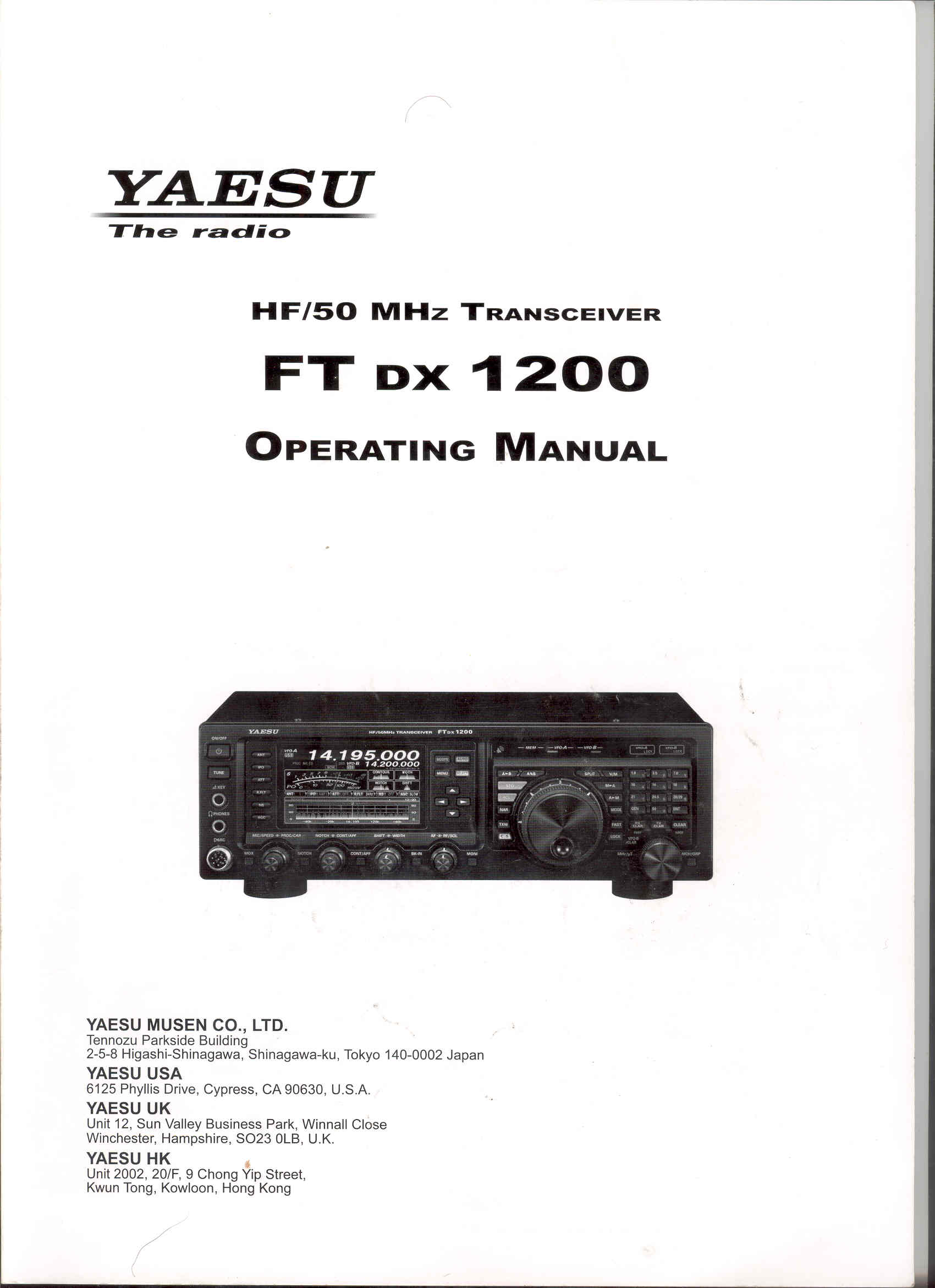 FT-DX1200 OPERATOR'S MANUAL Cover Page