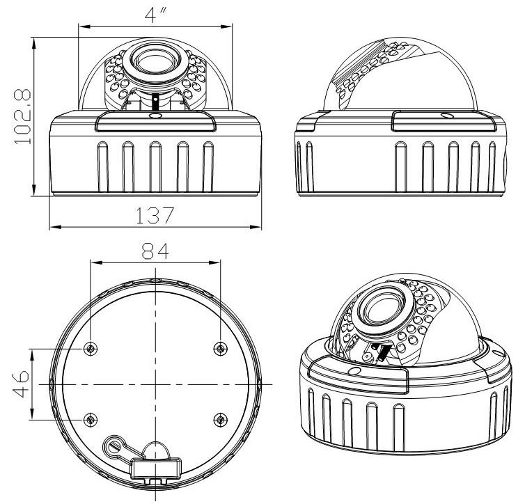 VCDVW-VF Lens Dome Camera