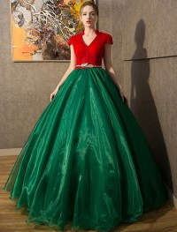 Vintage Prom Dresses 2016 V-neck Red Tulle Dark Green ...
