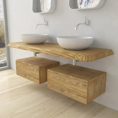 console salle de bain bois massif bord irregulier