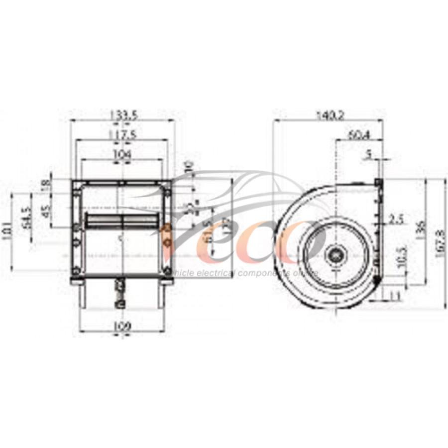 160596 HEATER BLOWER MOTOR FAN AIR CON 24 VOLT TRACTOR