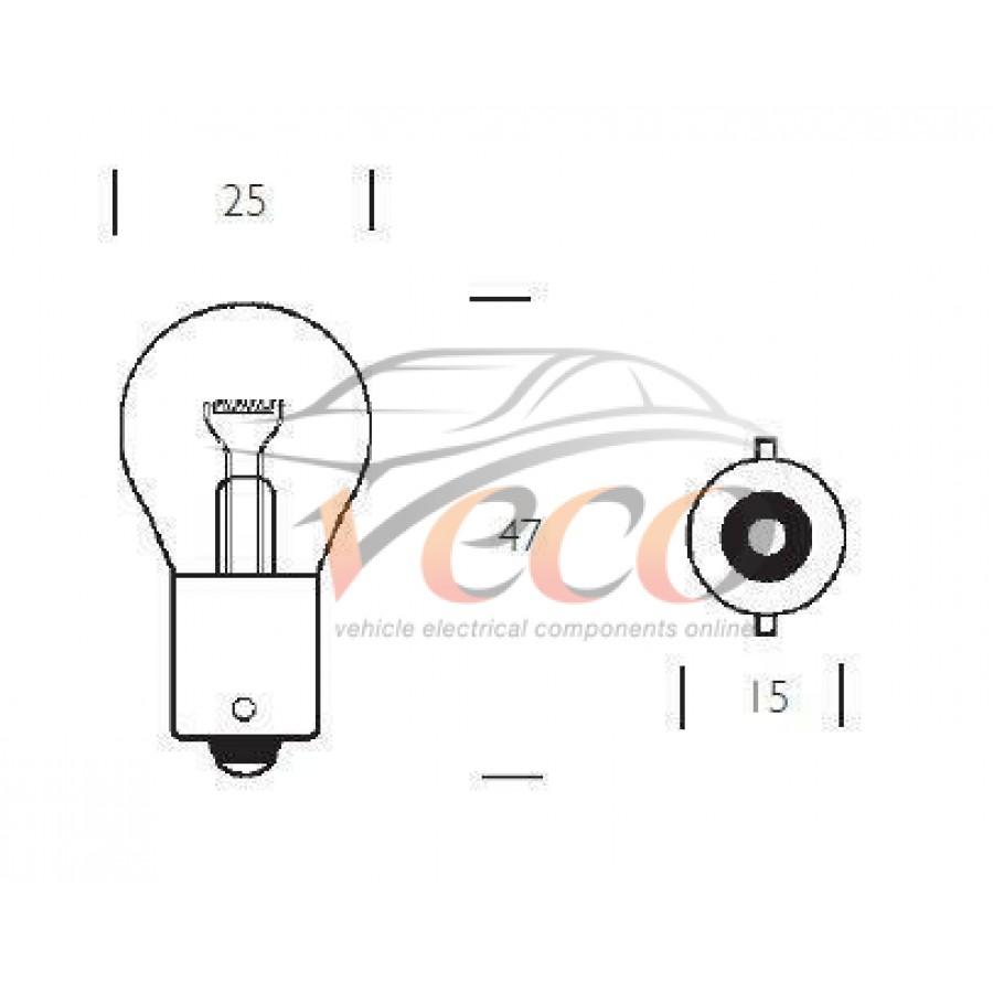 REPLACEMENT BA15s 12 VOLT 21 WATT P21W BULBS CLASSIC CAR