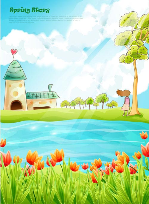 Cartoon fairy tale scenery vector