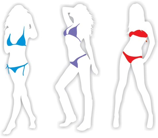 Girls shape in bikini vectors