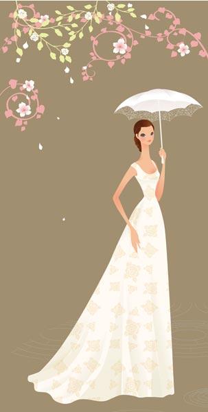 Cute Couple Wallpaper Free Download Illustration Wedding Bride Card Vector