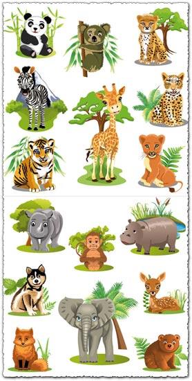 Very Cute Wallpapers Download Jungle Animals Cartoon Vectors
