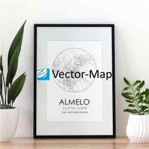 kaart poster Almelo