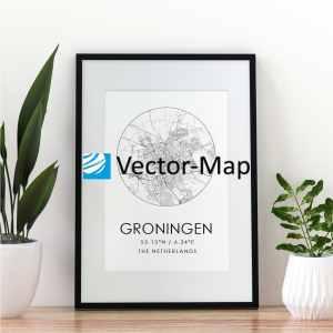 kaart poster Groningen