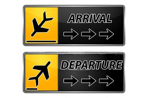 arrival and departure signs