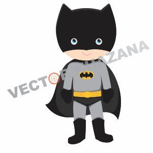 batman chibi logo vector