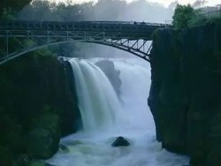 The bridge and the waterfalls of the Passaic river in Paterson, NJ