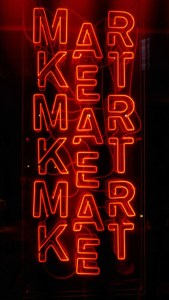 """Neon sign that says """"market"""""""