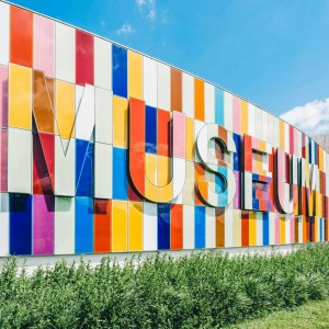 Museum written in different colored wall