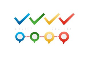 Choice vs. Quality - checkmarks in different colors.