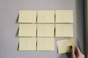 Sticky notes glued onto a wall