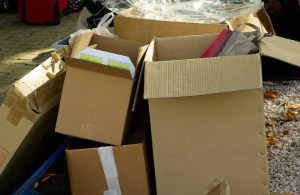 Pile of cardboard boxes - perfect to help you save money on a long distance move.