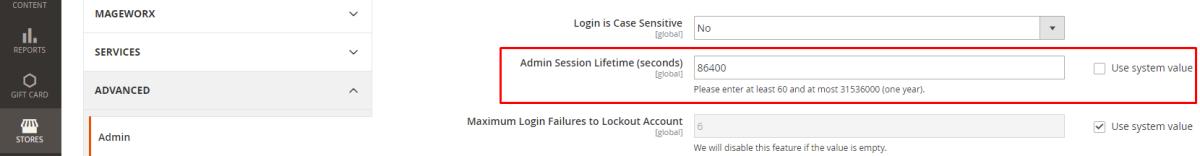 Magento Admin Session Lifetime