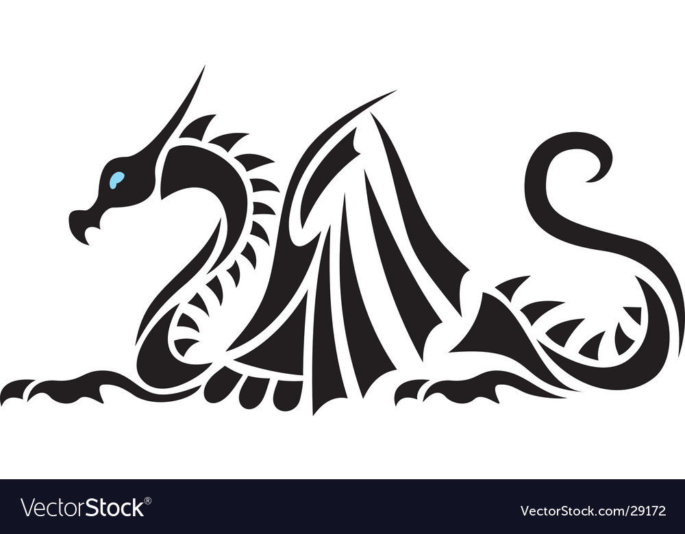 Sea Asian Dragon Silhouette - Tattoo. Keywords:
