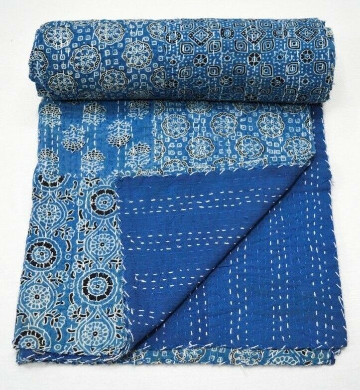 Details about  /Indian Reversible Block Print Kantha Quilt Blue Twin//Single Blanket Throw Art