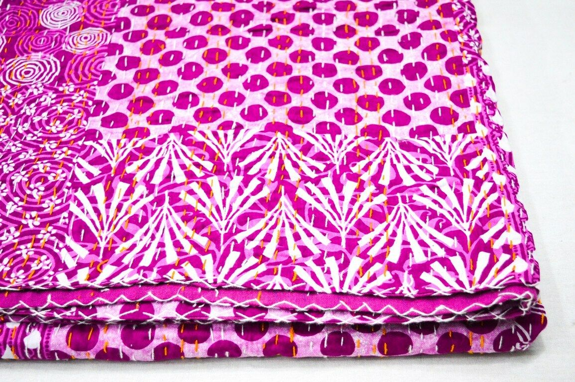 Details about  /Kantha Quilts Ethnic Decorative Picnic Twin Size Indian Bed cover Throw Blanket