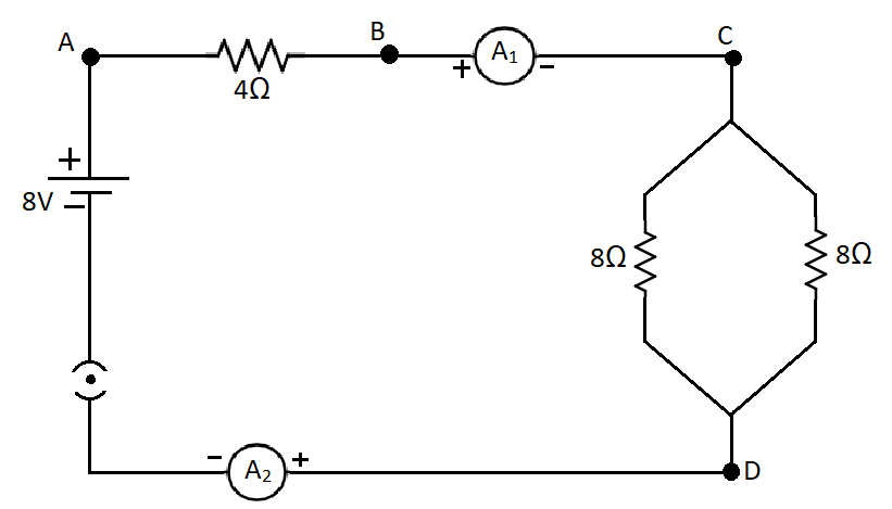 In the electric circuit shown in figure current flowing