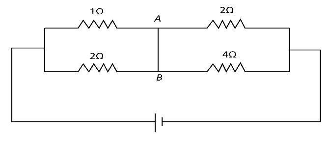 The current flowing through the segment AB of the circuit
